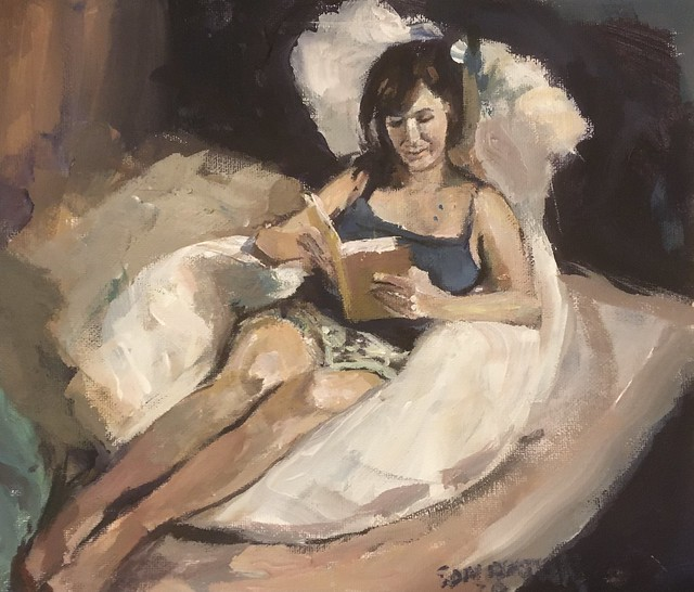Reading on a bed acrylic 12 by 10 inches