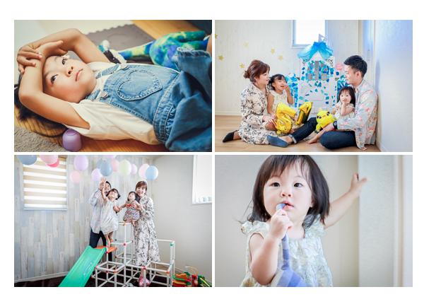 家族写真をご自宅で 出張撮影 誕生日バルーン