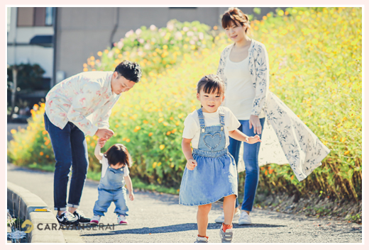 家族写真 コスモスの花と一緒に
