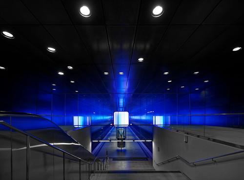 architecture nopeople view modern underground light lines illuminated metro hamburg indoors tourism perspective building traffiic transportation subwaystation blue nikkorafsf41635