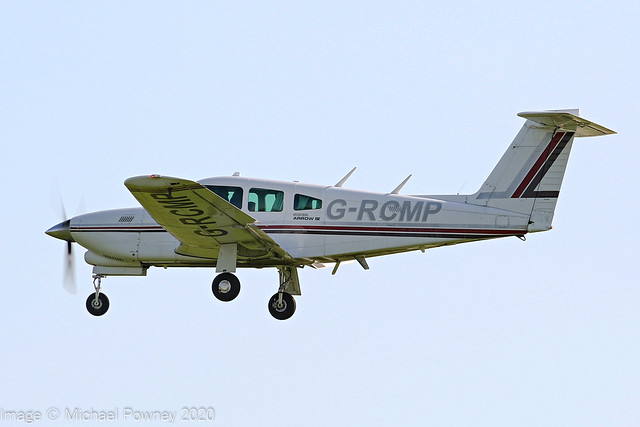 G-RCMP - 1979 build Piper PA-28RT-201T Turbo Arrow IV, on approach to Runway 09 at East Midlands