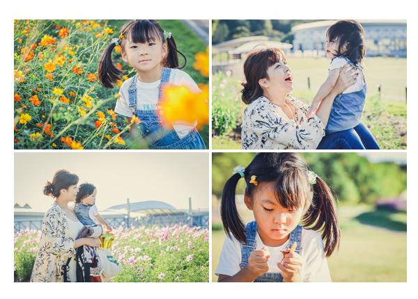 コスモスの花と一緒にファミリーフォトのロケーション撮影