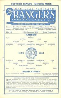 Rangers v Raith Rovers 19541127