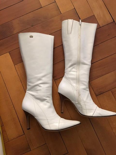 FOR SALE! -buffalo-stiefel-White Knee High Stiletto Boots UK 8 EU 42 US 11 Vintage/RARE!