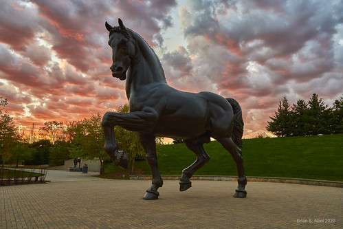 horse sunset meijergardens davinci michigan grandrapids frederikmeijergardenssculpturepark 1000ebeltlineavenegrandrapidsmi495255804 theamericanhorse sculpture sigma 16mmf14dcdn sony alpha a6400 ilce6400 clouds apsc