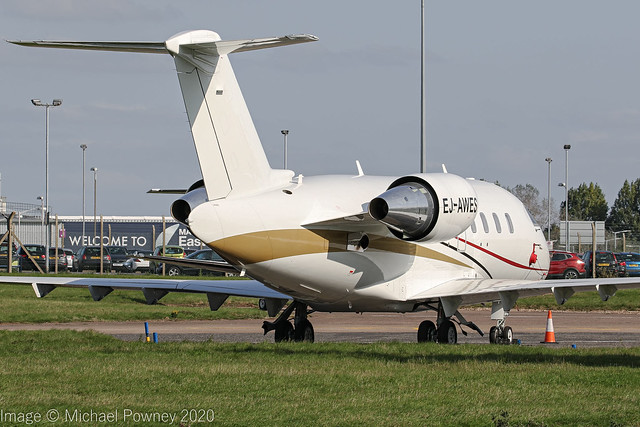 EJ-AWES - 2014 build Bombardier Challenger 605, parked at East Midlands