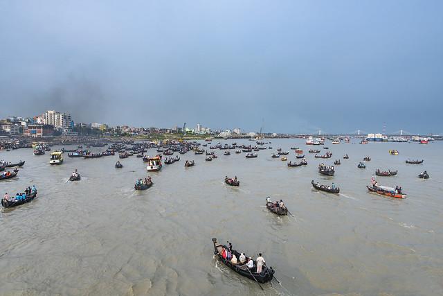 A transportation river boat there called 'Sampan' in Karnafuli River Sadarghat areas, Chittagong, Bangladesh.