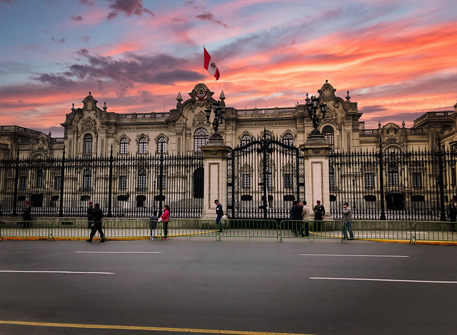 Plaza Mayor at sunset in Lima, Peru
