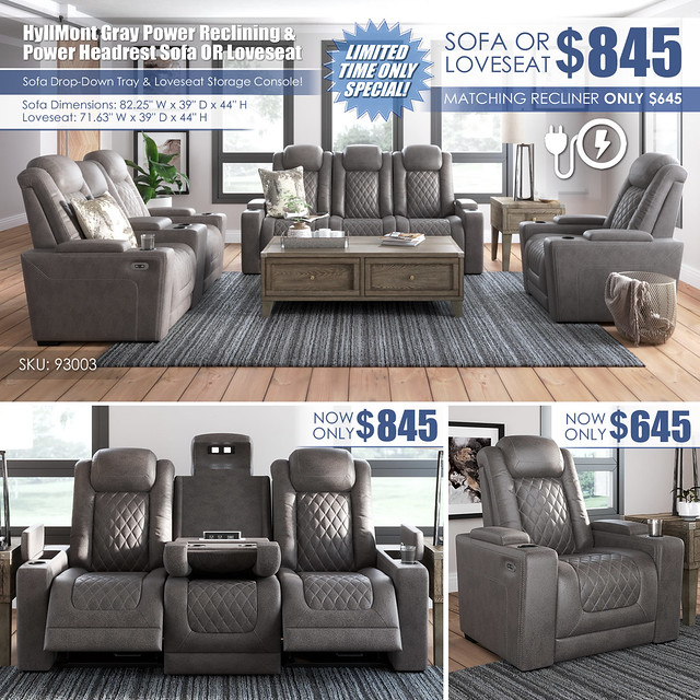 HyllMont Gray Power Reclining Sofa OR Loveseat_93003-15-18-T904_ALT_Layout4_Dimensions