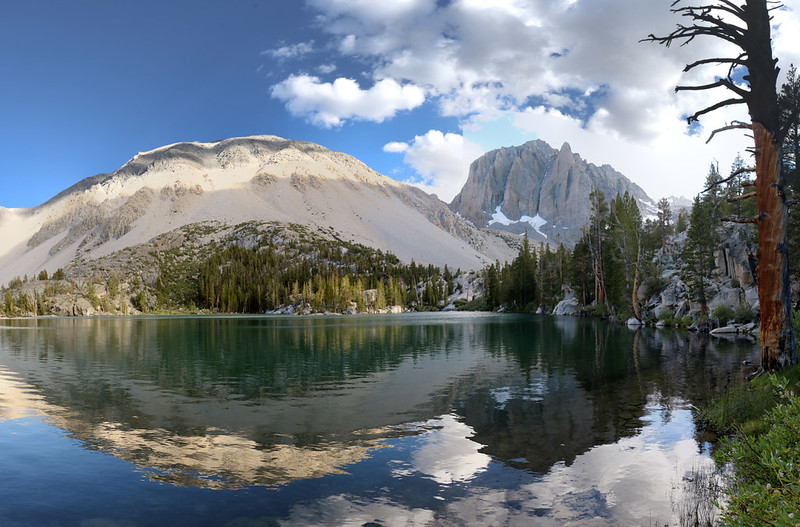 Evening reflections over First Lake in the NF Big Pine Creek basin