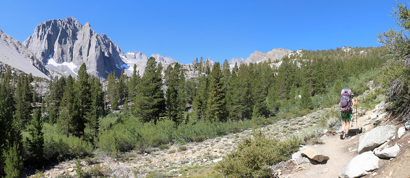 Panorama view of Temple Crag, North Palisade, Thunderbolt, Winchell, and Robinson from the NF Big Pine Creek Trail