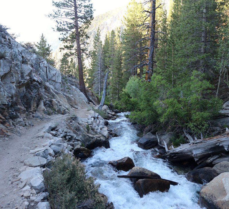 Big Pine Creek flowing through the gorge next to the trail just before plunging down Second Falls