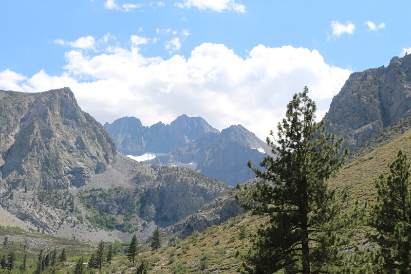 Looking up the South Fork of Big Pine Creek toward Middle Palisade and the Clyde Glacier