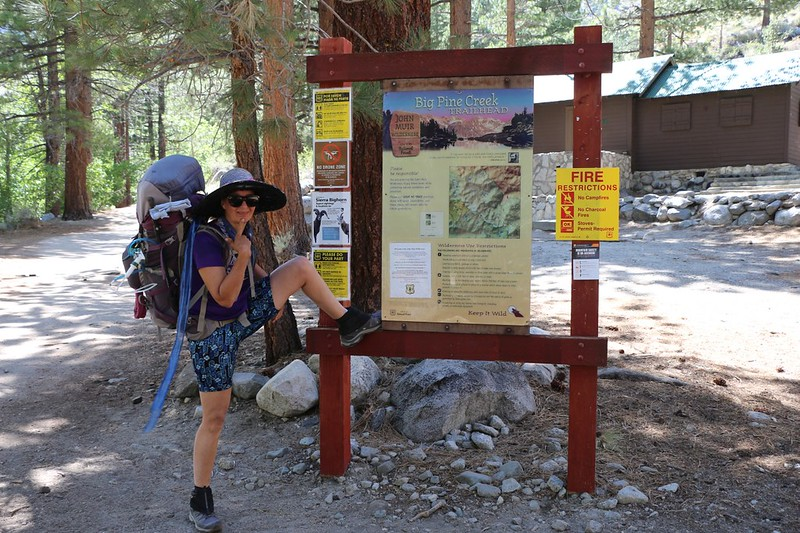 Vicki starting the hike at the other Big Pine Creek Trailhead near First Falls - because it was shorter and shadier
