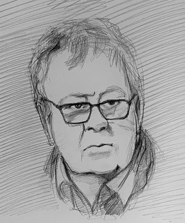 Portrait of Philip Serrell. English Auctioneer, Antiques Expert, Television Presenter, and winner of Celebrity Master Mind, seen on Television Tonight. Drawing by jmsw using Rotring T 0.5 pencil . Just for Fun.