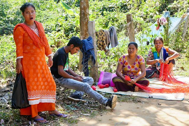 Weaving plastic baskets near Rangamati