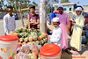 Pineapple stall near fishery Rangamati and a mosque by Sekitar