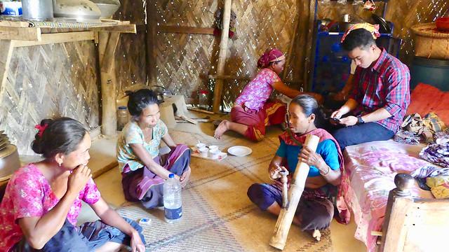 Chakma village Masterpara and bamboo pipe Daba, Kaptai Lake