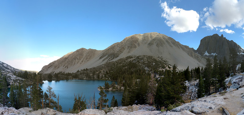 Panorama view looking south over First Lake, with Mount Alice, Buck Mountain, and Temple Crag