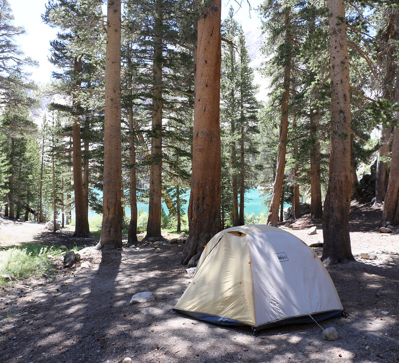 Our tent and campsite near First Lake in the Big Pine Creek Basin