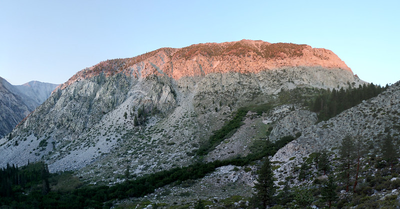 The sun begins to rise, lighting up Mount Alice from the NF Big Pine Creek Trail