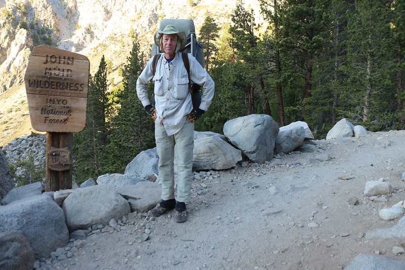 Me, as we enter the John Muir Wilderness on the NF Big Pine Creek Trail near Second Falls