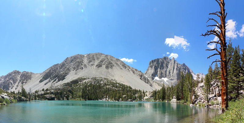 Panorama view over First Lake, with Temple Crag on the right