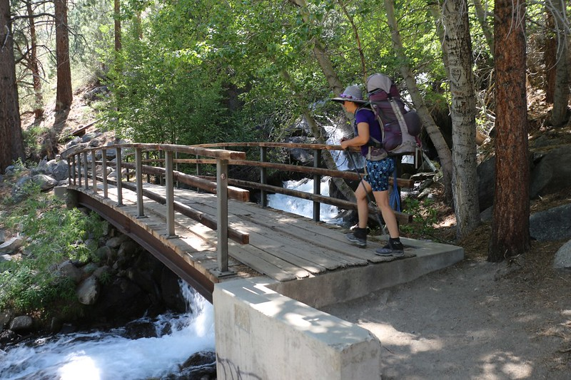 The bridge over the North Fork of Big Pine Creek as the trail heads up alongside First Falls