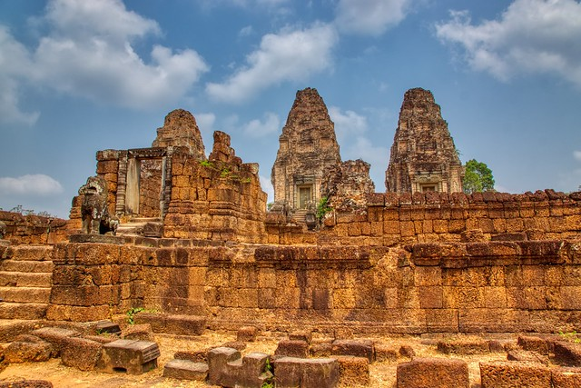 Temple ruins of Eastern Mebon in Angkor Historical Park near Siem Reap, Cambodia