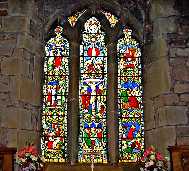 Stained glass window at St Mary's Church in Penwortham, Lancashire