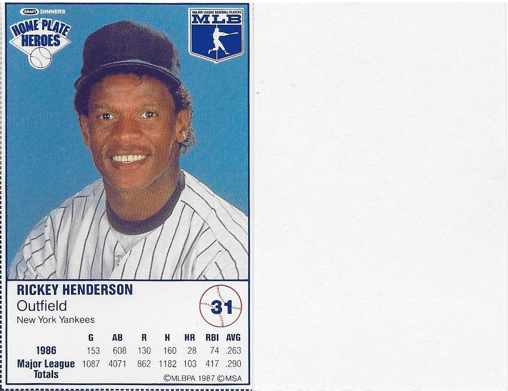 1987 Kraft Sample (Rickey Henderson)