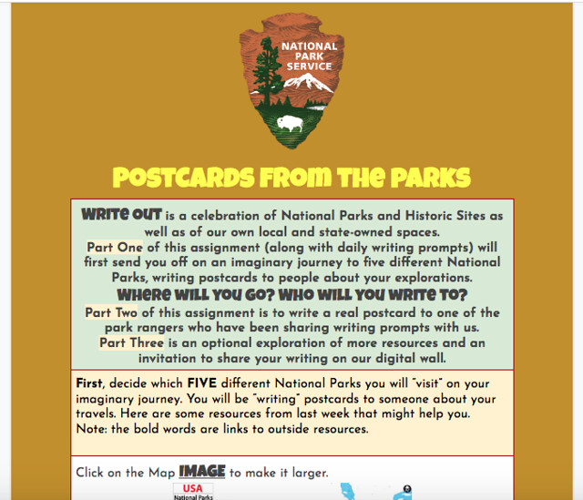 Postcards from the Parks activity