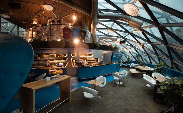 Inside the Grazer Murinsel Cafe