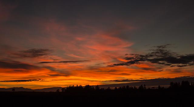 Autumn sunset over the Coastal Range in Oregon