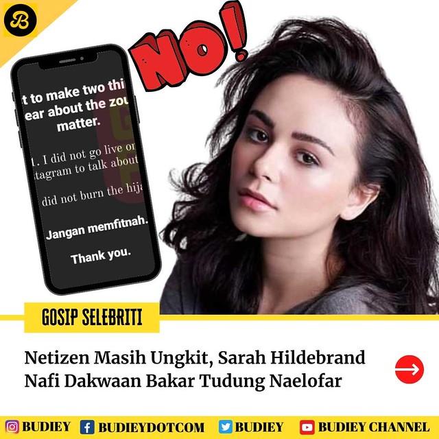 Netizen Masih Ungkit, Sarah Hildebrand Nafi Dakwaan Bakar Tudung Naelofar
