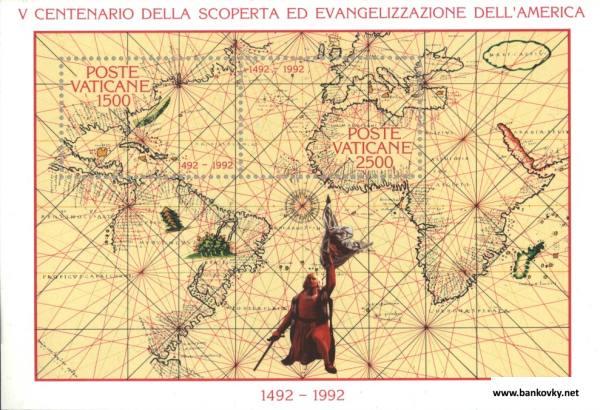 Známky Vatikán 19920 Objavenie Ameriky nerazítkovaný hárček MNH