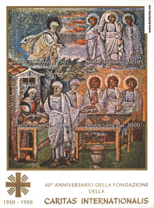 Známky Vatikán 1990 40 rokov charity, nerazítkovaný hárček MNH