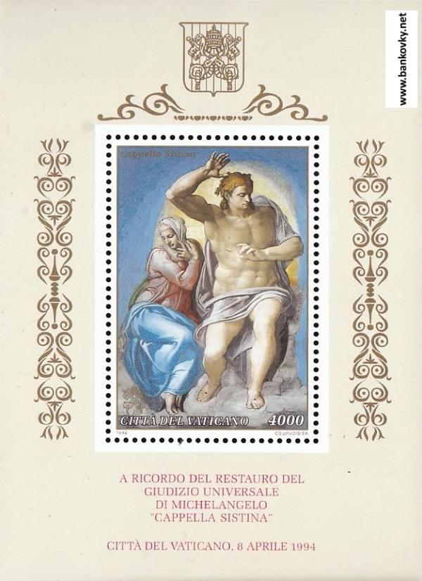 Známky Vatikán 1994 Michelangelo nerazítkovaný hárček MNH