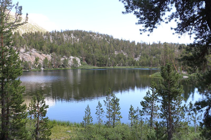 The NF Big Pine Creek Trail continues around the west side of Fourth Lake