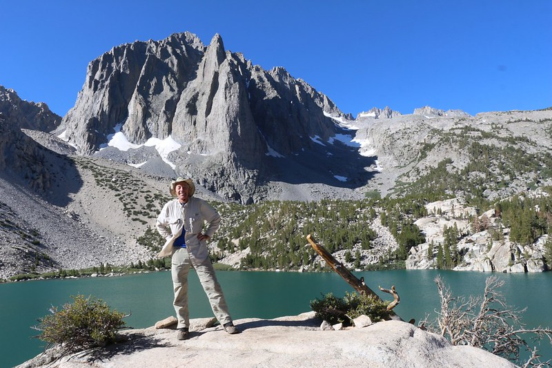 Me posing in front of Temple Crag and Second Lake on the NF Big Pine Creek Trail
