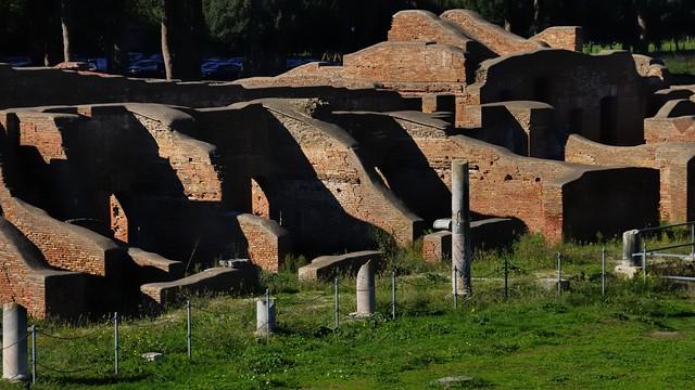 Commercial artisan street, Ostia Antica archaeological park, Roma Capitale, Lazio, Italy.