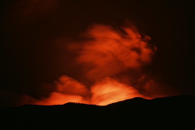 The Luna Wildfire, burning at night. Seen from Taos.