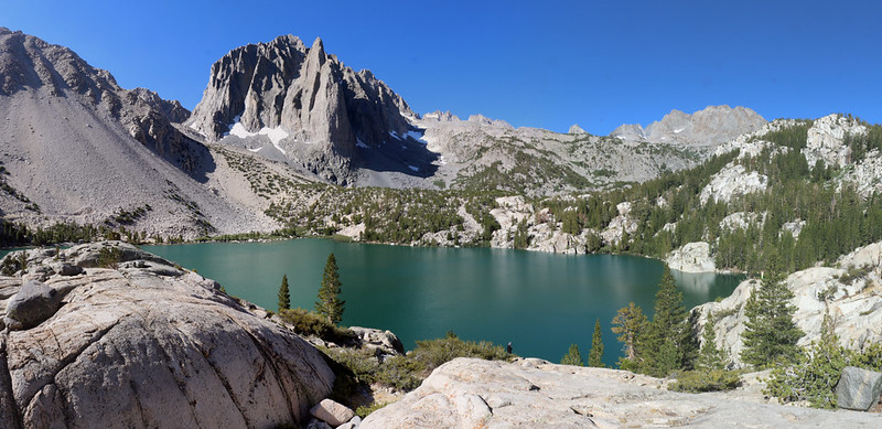 Panorama view of Second Lake with Temple Crag above it