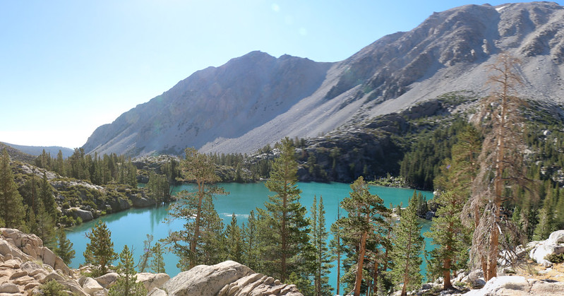 Looking down on First Lake as we climb up the NF Big Pine Creek Trail toward Second Lake