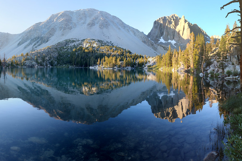 Panorama over First Lake in the early morning sunshine