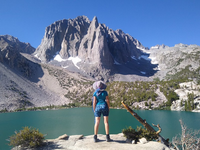 Vicki posing like an Instagram Girl with Temple Crag and Second Lake on the NF Big Pine Creek Trail
