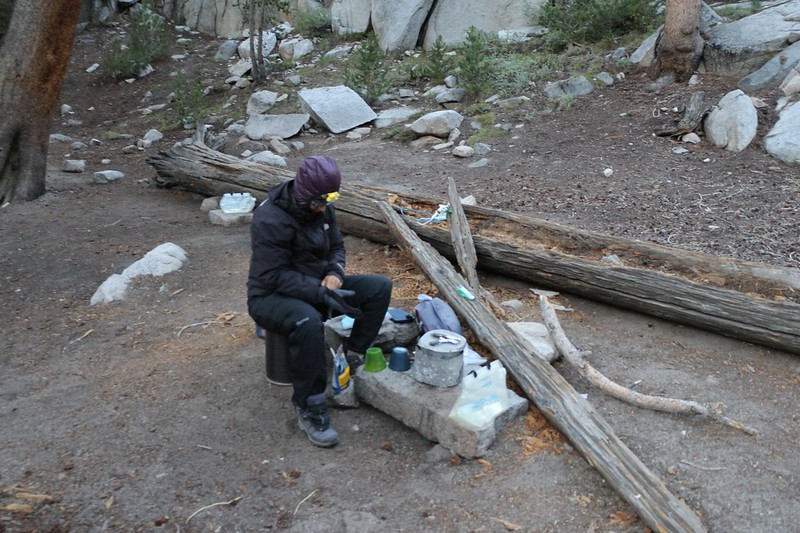 It was cool in the morning as we cooked breakfast in our campsite near First Lake
