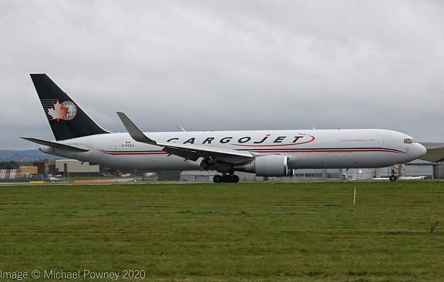 C-FCCJ - 1992 build Boeing B767-323ERDBSF, arriving on Runway 27 at a gloomy East Midlands