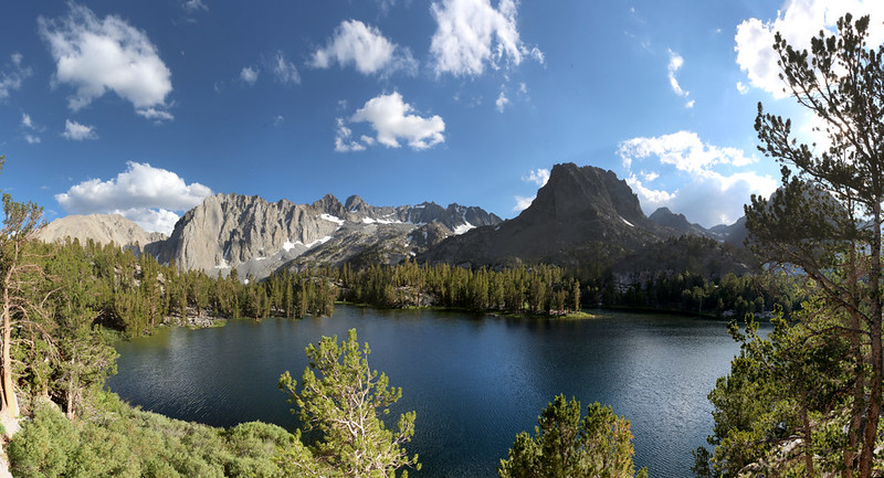 Afternoon panorama shot from our campsite at Fourth Lake in the Big Pine Lakes Basin