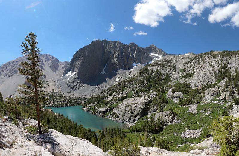 The NF Big Pine Creek Trail climbs high above Third Lake
